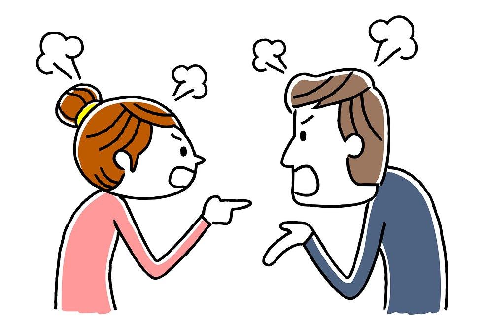 איור של זוג המצוי במריבה