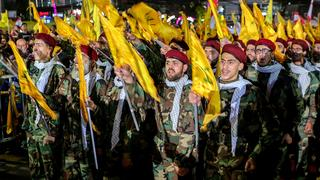 Hezbollah members during Hassan Nasrallah's speech in Lebanon