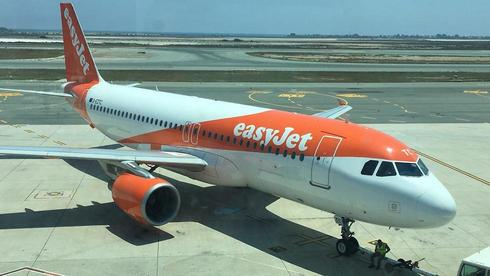 A plane from low-cost airline easyJet at Ben-Gurion Airport in Tel Aviv