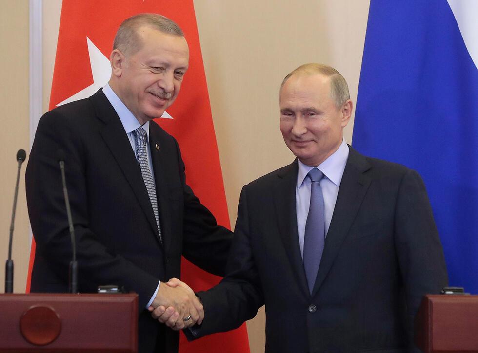 נשיא טורקיה רג'פ טאיפ ארדואן ו נשיא רוסיה ולדימיר פוטין נפגשים ב סוצ'י