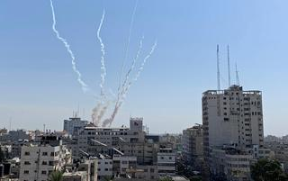 Rockets being fired from Gaza into Israel
