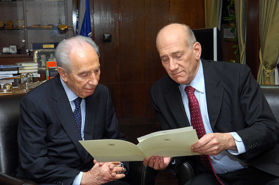 Prime Minister Ehud Olmert submits his resignation to President Shimon Peres, Sept. 21, 2008