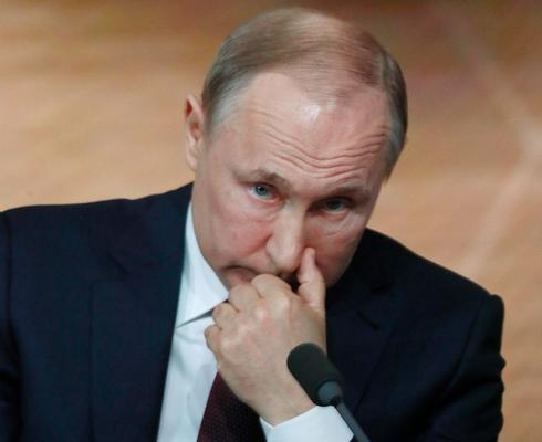 נשיא רוסיה ולדימיר פוטין מסיבת עיתונאים שנתית ב מוסקבה