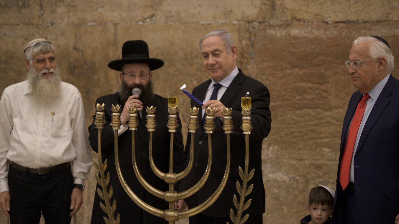 Prime Minister Benjamin Netanyahu lights Hanukkah candle in Jerusalem