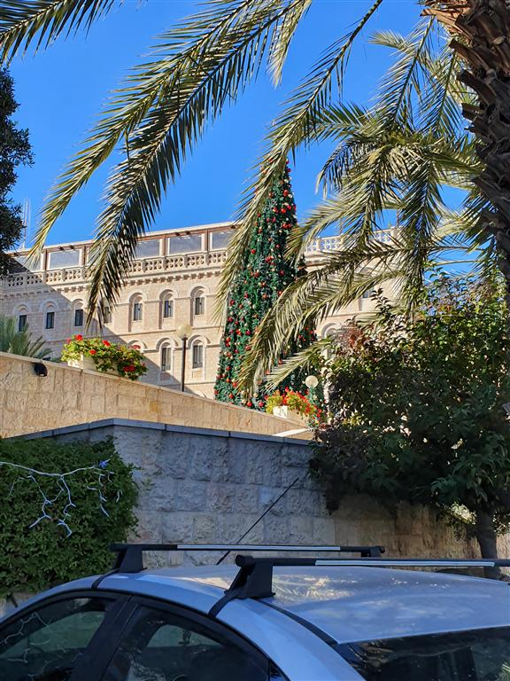 A Christmas tree towering at the Notre Dame of Jerusalem Center