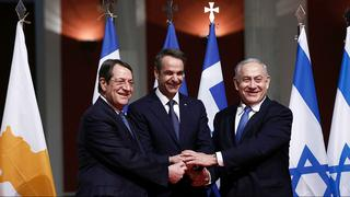 The leaders of Israel, Greece and Cyprus after sighing the agreement