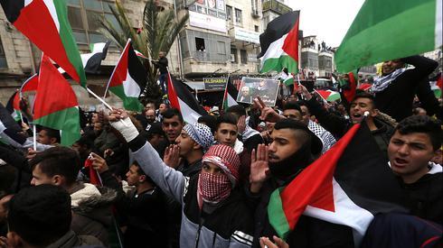 הפגנות של פלסטינים ברמאללה