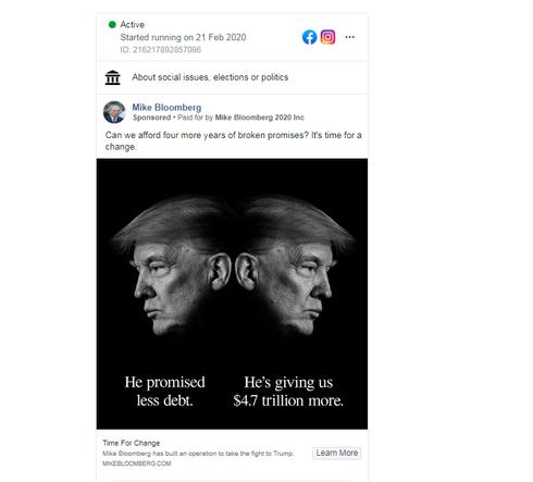מודעה של קמפיין בלומברג בפייסבוק