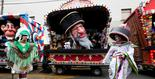 A float featuring a caricature of a Jew at the parade in Aalst, Feb. 23 2020