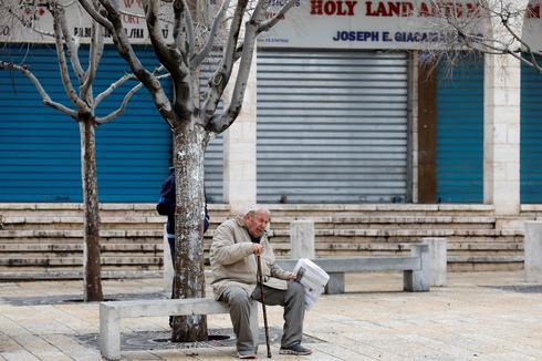 Shops closed at Manger square in Bethlehem