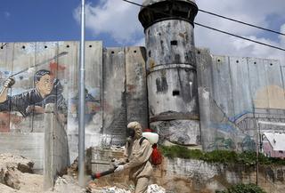 Medical teams near the border fence in Bethlehem