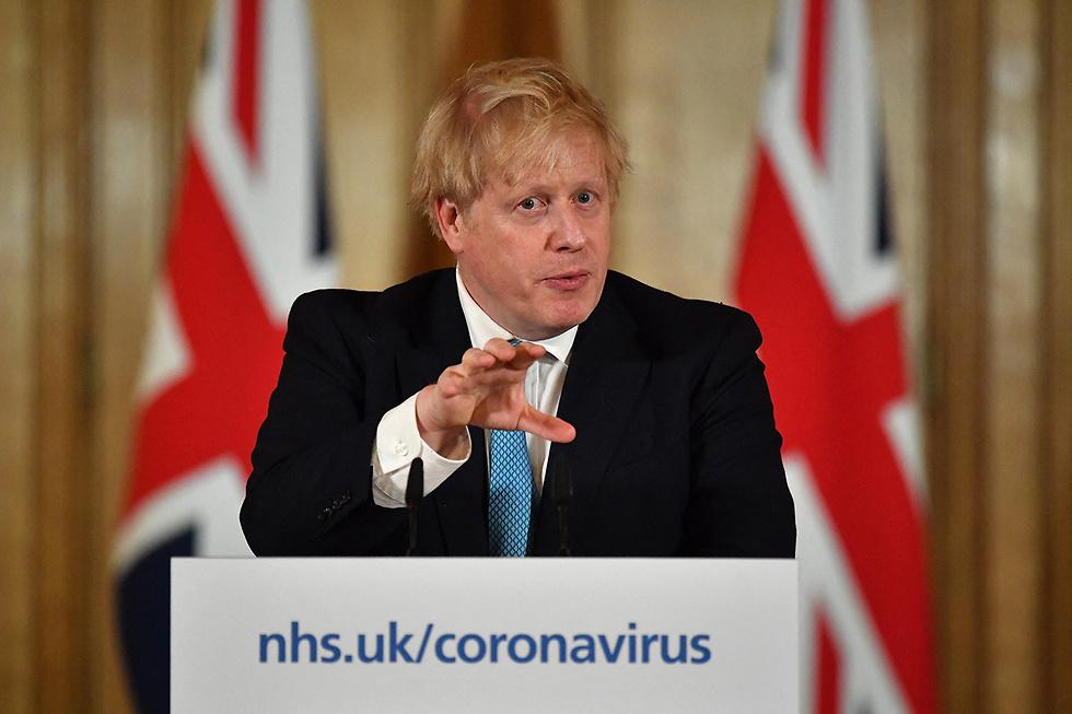 ראש ממשלת בריטניה בוריס ג'ונסון מסיבת עיתונאים