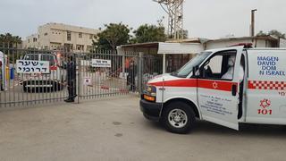 The entry to the coronavirus ward at Laniado Hospital in Netanya