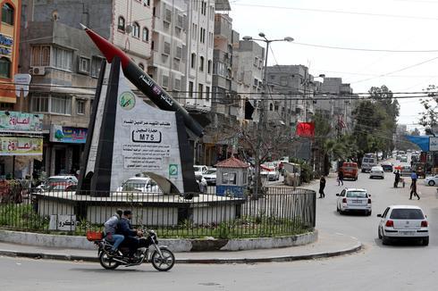 Gaza city center with Hamas monument