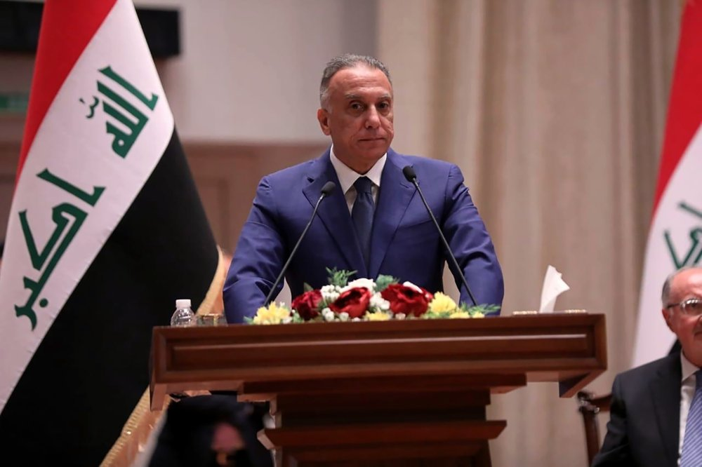 Mustafa al-Kahdimi, Iraqi Prime Minister-designate speaks to members of the Iraqi parliament in Baghdad