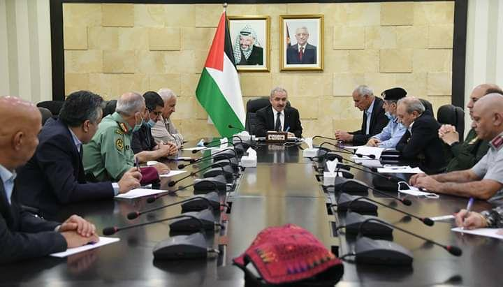 פגישת ראש הממשלה הפלסטיני מוחמד אשתייה עם ראשי המנגנונים הפלסטינים ברמאללה