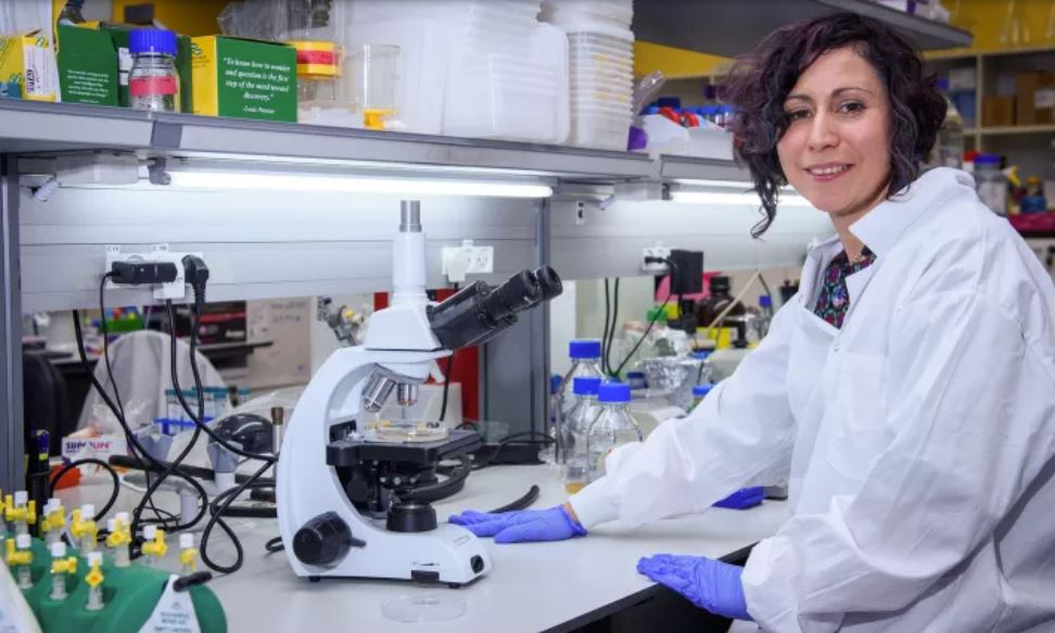 Dr. Nadia Grozdev working on a vaccine for the coronavirus at the MIGAL Galilee Research Institute in Kiryat Shmona