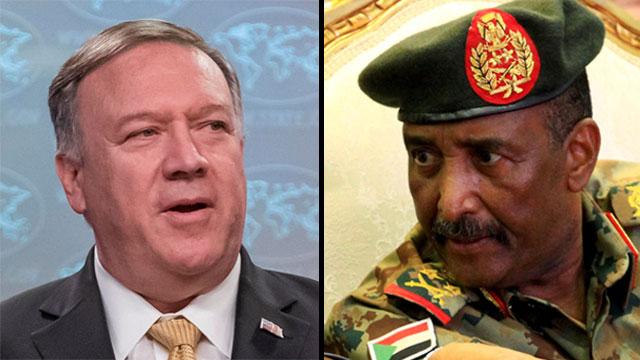 מנהיג סודן עבד אל-פתח בורהאן ומייק פומפאו