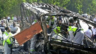 שרידי האוטובוס בפיגוע בצומת מגידו באינתיפאדה השנייה