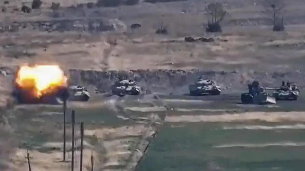 תיעוד של תקיפה של כוחות ארמניה נגד טנקים של צבא אזרבייג'ן ב חבל נגורנו קרבאך