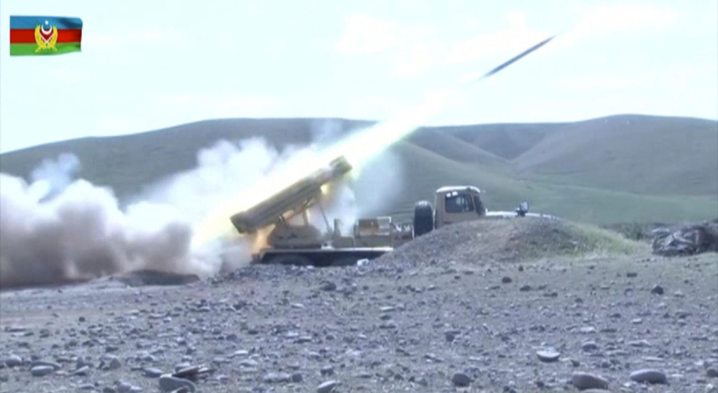 רקטה של צבא אזרבייג'ן תקיפה באזור נגורנו קרבאך