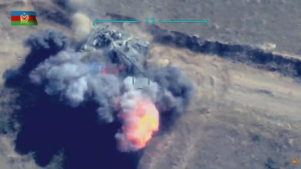 תקיפה של טנק ארמני על ידי צבא אזרבייג'ן נגורנו קרבאך