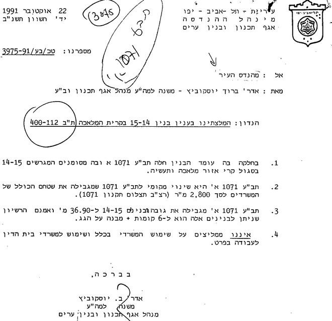 ההחלטה לאשר תוספת קומות לשימוש ממשלתי. מקור: ארכיון תיק הבנין בעירית תל אביב