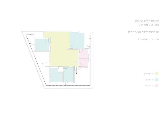 תכנית הבית שמראה את היציאות מכל חדר למרפסת ההיקפית המשותפת