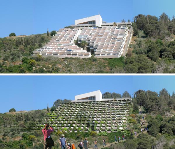מלון דירות 'חוות הברון' הזכרון יעקוב. מצב קיים למעלה, והצעה רעיונית לשפצו כמלון אקולוגי. גלעד-שיף אדריכלות.