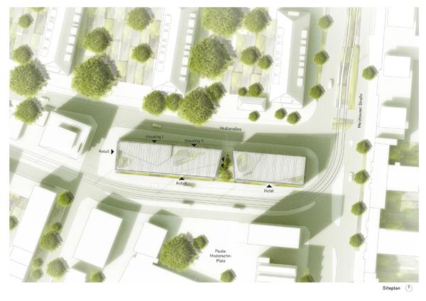 תוכנית המתחם המשלב מגורים, מסחר ומלון, תודות למתכננים Barkow Leibinger