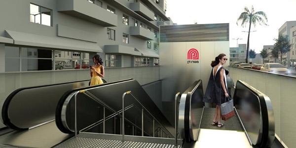 הדמיית הלוגו בכניסה לתחנה בעיצובו של אברהם קורנפלד / הדמיה באמצעות חברת נת״ע