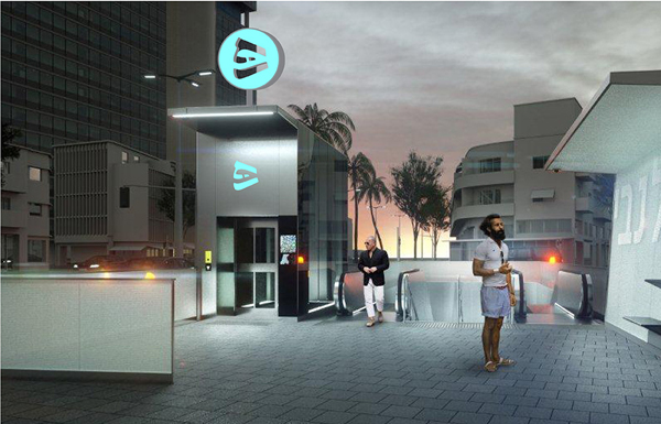הדמיית לילה של הלוגו בכניסה לתחנה בעיצובה של נירית בינימיני / הדמיה באמצעות חברת תנ״ע