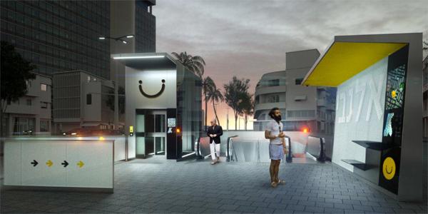 הדמיית לילה של הלוגו בכניסה לתחנה בעיצובו של שלומי נחמני / הדמיה של חברת תנ״ע