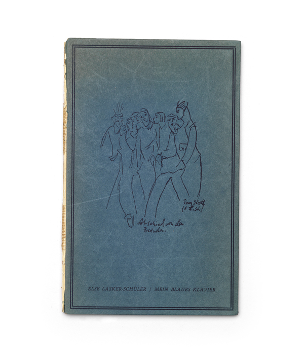 פסנתרי הכחול, ספר השירים בגרמנית של אלזה לסקר-שילר, שעיצב והוציא לאור שפיצר ב-1943 בירושלים /