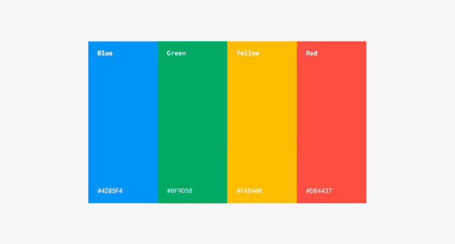 ארבעת הצבעים המפורסמים שעברו ליוטש עם הראו החדשה / מתוך ספר המיתוג של גוגל