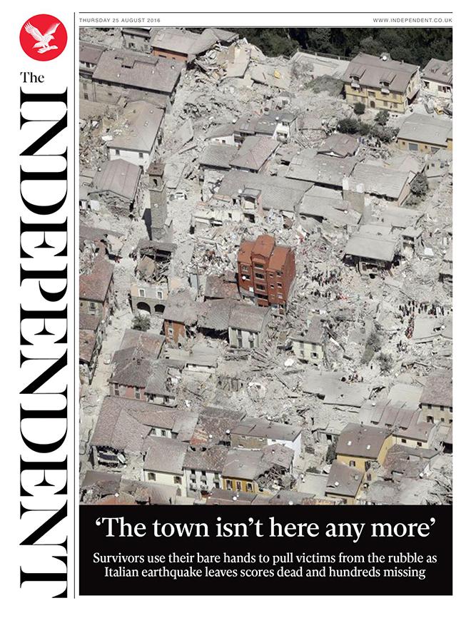 שער מופלא של האינדיפנדנט הבריטי בסיקור אחרי רעידת האדמה באיטליה /