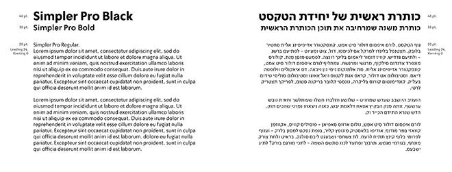מתוך ספר המותג: הפונט סימפלר באנגלית והעברית  - פשוט, דומיננטי, עדכני וכזה שעובד נהדר בשתי השפות / עיצוב: OPEN