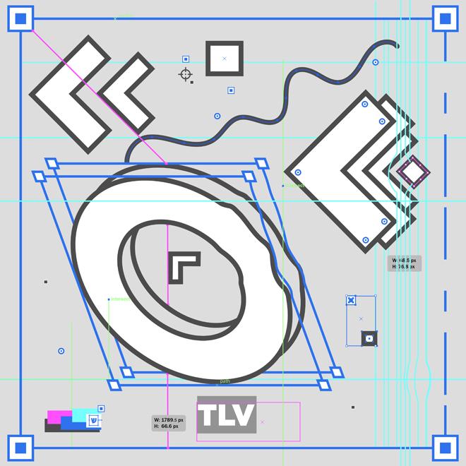 הפירוק לגורמים של המעצב ספי פישר ללוגו של OFFF