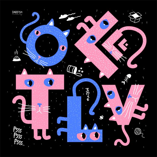 רדיש דיזיין בגרסה מאויירת וחתולית ללוגו של OFFF