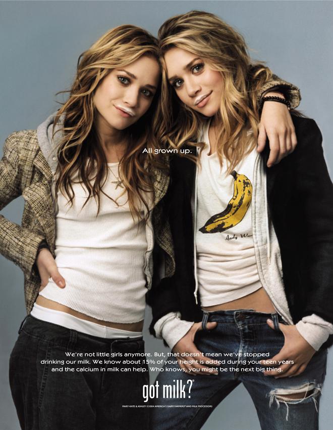 התאומות אולסן לGot Milk? בצילום של הצלמת אנני לייבוביץ׳ / שנת 2004