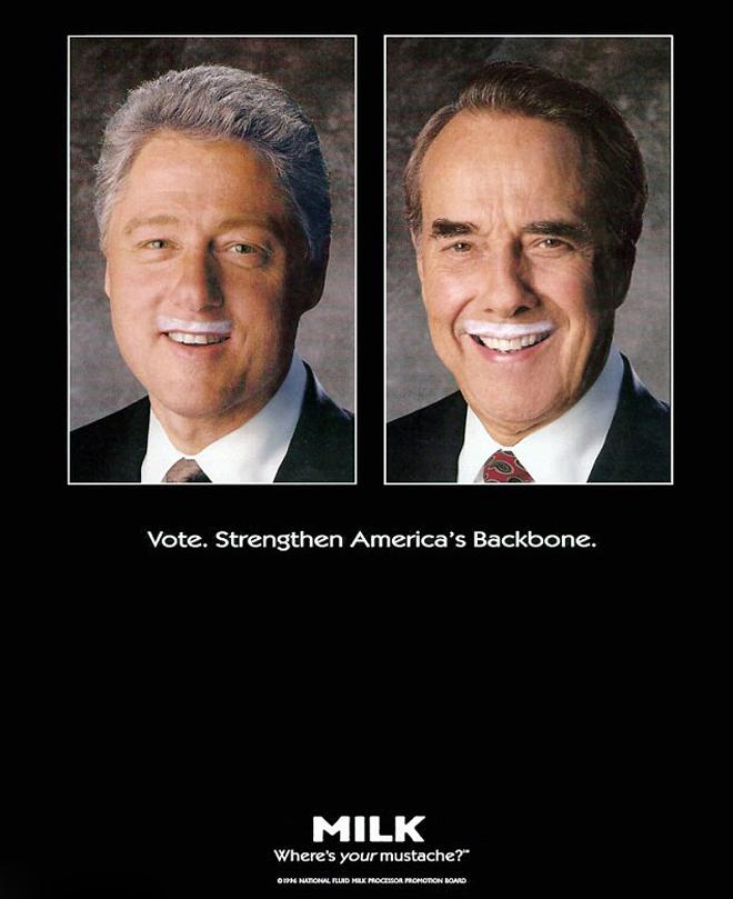 רגע לפני סוף מירוץ הבחירות של ביל קלינטון ובוב דול, שיתפו השניים פעולה לטובת הקמפיין Got Milk / שנת 1996