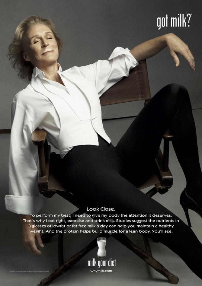 גלן קלוז לקמפיין Got Milk? / שנת 2008