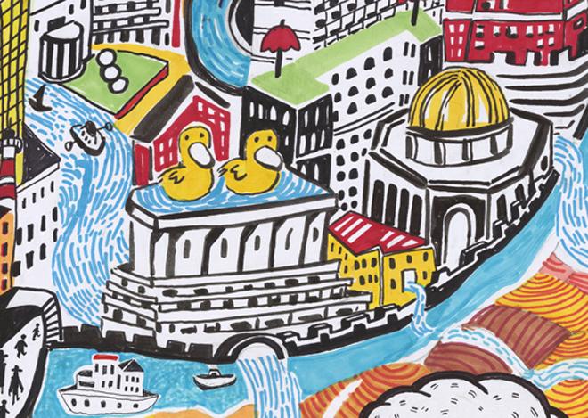 ברווזים על משכן כנסת ישראל בשנת 2048 על פי המאייר עמית טריינין