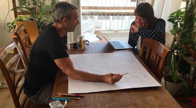 עמית טריינין ושרונה קרני כהן עובדים על הפרוייקט