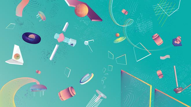 לוויינים שצפים בחלל - השפה האיורית שמלווה את מיתוג התערוכה / עיצוב: אורנה שובייב, נעם גלעדי