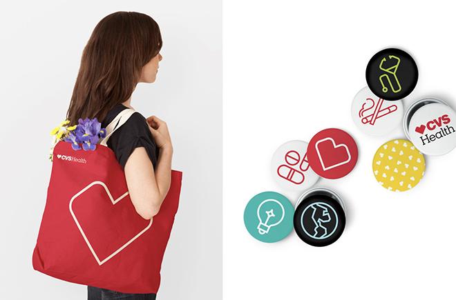 ישומים שונים עם אייקון הלב המרובע CVS Health / מתוך האתר של siegel+gale