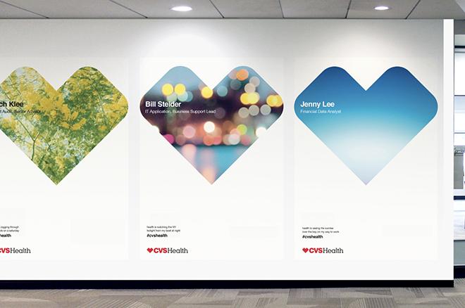 שילוט תוך שימוש בצורה האייקונית של הלב המרובע  על קירות הקליניקות של CVS Health / מתוך האתר של siegel+gale
