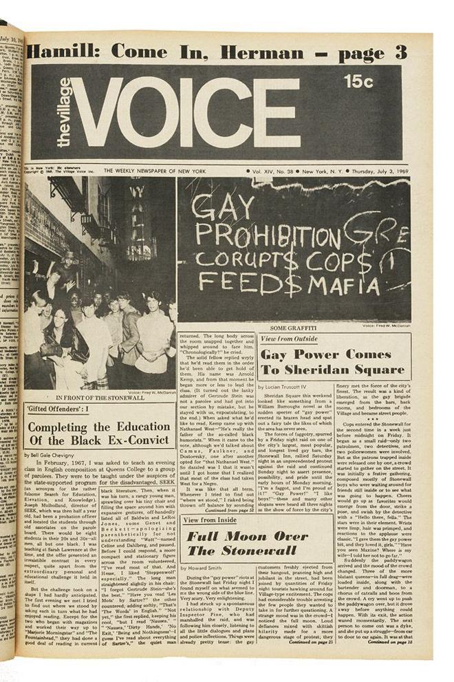 גיליון הווילג׳ וויס משנת 1969, סוקר פעולות נגד הקהילה ההומוסקסואלית בניו יורק עם אירועי סטונוול