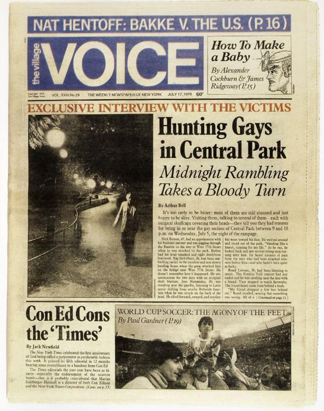 הוויס עובר לפורמט טבלואיד, והלוגו מקבל עדכון כחול (כזה שנשאר אייקוני עד היום) - גיליון מ1978 עם כותרת ראשית על ״ציד״ לילי להומוסקסואלים בסנטרל פארק הניו יורקי