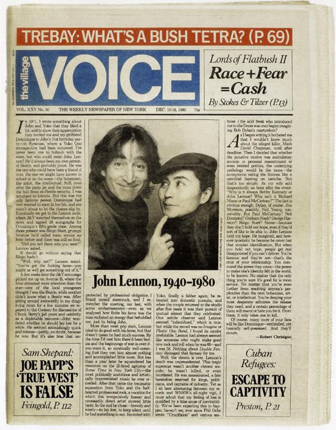 סיקור הרצחו של ג׳ון לנון בניו יורק, כמובן לא פסח על מי שהיה הקול של התושבים בניו יורק. גיליון מ1980.